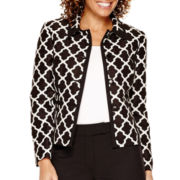 R&K Originals® Long-Sleeve 4-Button Tile Print Jacket and Pant Suit - Petite