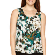 Black Label by Evan-Picone Sleeveless Print Blouse