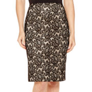 Black Label by Evan-Picone Lace Pencil Skirt
