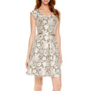 Tiana B.Cap-Sleeve Lace Fit-and-Flare Dress - Tall