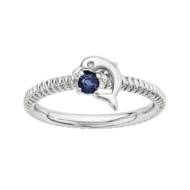 jcpenney.com | Lab-Created Sapphire and Diamond-Accent Sterling Silver Stackable Dolphin Ring