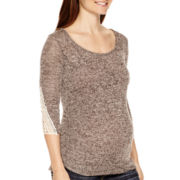 Maternity 3/4-Sleeve Lace Cuff Marled T-Shirt