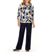 Alfred Dunner® Sausalito Print Top or Denim Pants