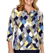 Alfred Dunner® Sausalito 3/4-Sleeve Print Top