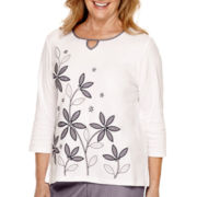 Alfred Dunner® Sausalito 3/4-Sleeve Embroidered Top