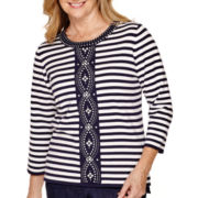 Alfred Dunner® Sausalito 3/4-Sleeve Striped Sweater