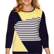 Alfred Dunner® Sausalito 3/4-Sleeve Colorblock Sweater
