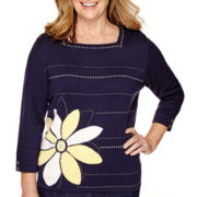 Alfred Dunner® Sausalito 3/4-Sleeve Floral Detail Sweater
