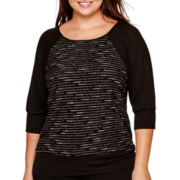 Alyx® Elbow-Sleeve Metallic Dolman Top - Plus
