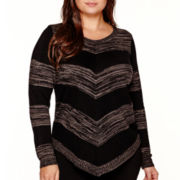 Alyx® Long-Sleeve Asymmetrical Chevron Stripe Tunic Top - Plus