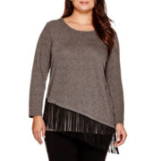 Alyx® Long-Sleeve Asymmetrical Top with Fringe - Plus