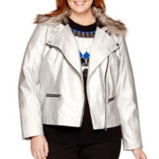 a.n.a® Fur-Collar Metallic Moto Jacket - Plus