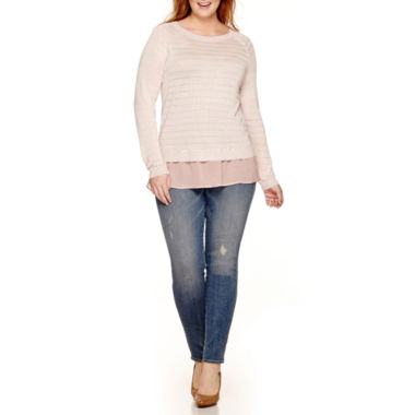 jcpenney.com | a.n.a® Chiffon-Trim Sweater or Jeggings - Plus