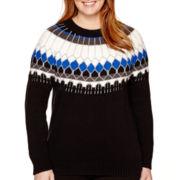 a.n.a® Long-Sleeve Fairisle Pullover Sweater - Plus