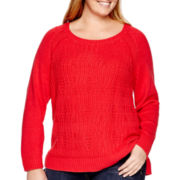 Stylus™ Long-Sleeve Cable Sweater - Plus