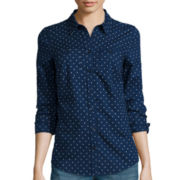 St. John's Bay® Long-Sleeve Dot Brushed Twill Shirt