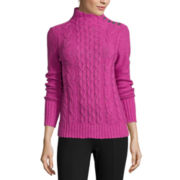 St. John's Bay® Long-Sleeve Funnel-Neck Cable Sweater-Petite