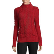 St. John's Bay® Long-Sleeve Funnel-Neck Cable Sweater
