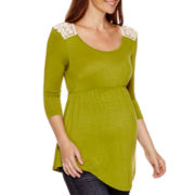 Maternity 3/4-Sleeve Lace-Back Babydoll Top - Plus