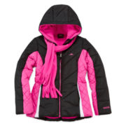Pacific Trail Puffer Jacket and Scarf - Girls 7-16