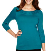 Worthington® 3/4-Sleeve Cable-Neck Sweater - Petite