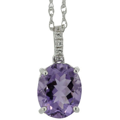Genuine Amethyst and Lab-Created Sapphire Pendant Necklace