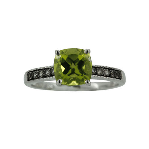 Sterling Silver Peridot and Smoky Quartz Ring