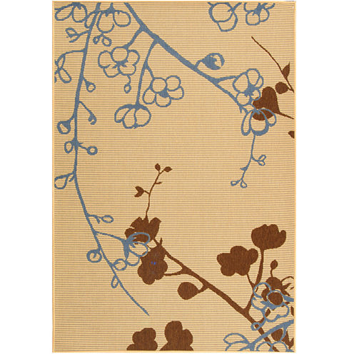 Courtyard Graceful Leaf Indoor/Outdoor Rectangular Rugs