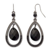 Black Faceted Teardrop Earrings