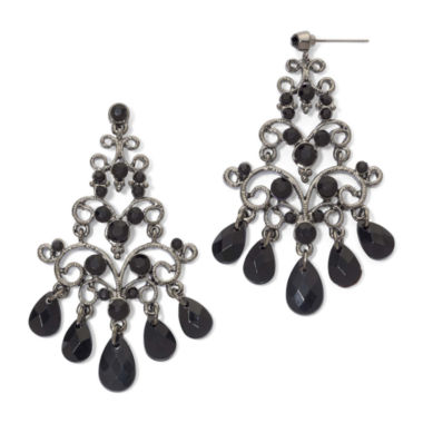 jcpenney.com | Hematite & Black Bead Chandelier Earrings
