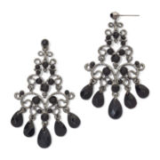 Hematite & Black Bead Chandelier Earrings