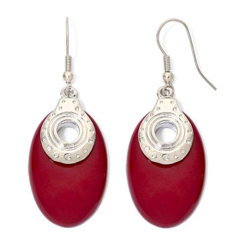 Red Silver-Tone Oval Earrings
