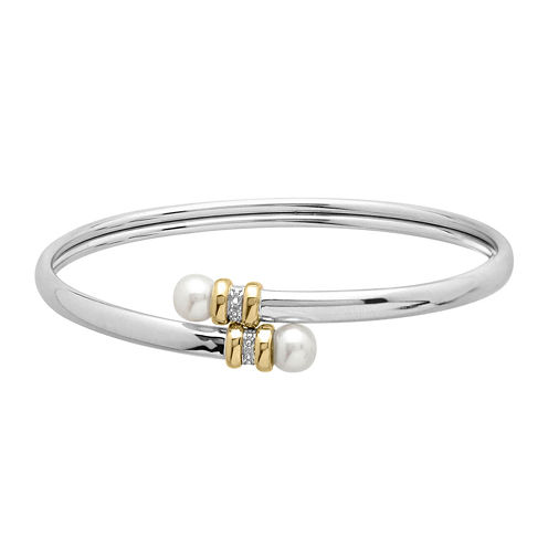 Cultured Freshwater Pearl & Diamond-Accent Bangle