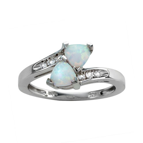 Lab-Created Opal & White Sapphire Bypass Ring