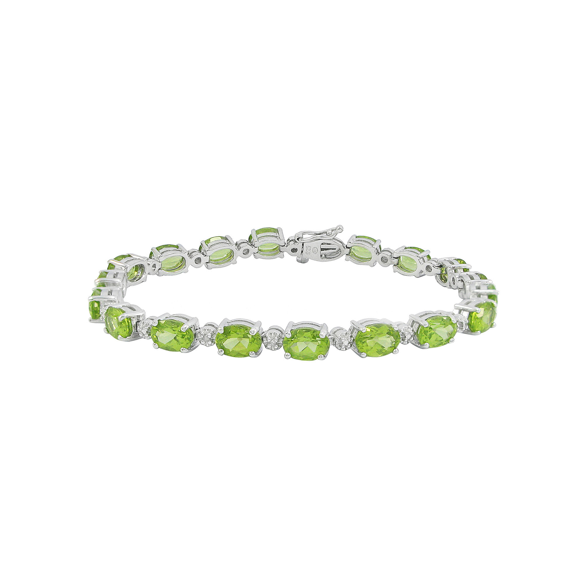 Genuine Peridot & Diamond Accent Tennis Bracelet