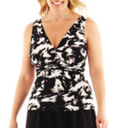 Trimshaper® Print Tankini Swim Top - Plus