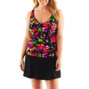 Jamaica Bay® Floral Print Tankini Swim Top or Solid Bottoms - Plus