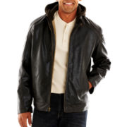Excelled® Faux-Leather Motorcycle Jacket with Hood