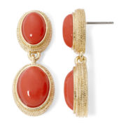 Monet® Coral Stone Gold-Tone Double-Drop Earrings