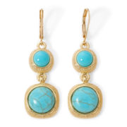 Monet® Aqua and Gold–Tone Double Drop Earrings