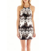 My Michelle® Strapless Halter Aztec Sequin Dress
