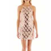 My Michelle® Strapless Halter Print Sequin Dress