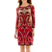 Tiana B. 3/4-Sleeve Print Shift Dress
