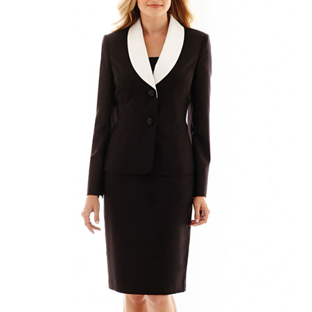 Le Suit Two-Button Contrast Shawl Collar Skirt Suit