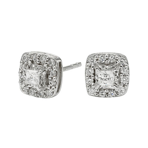 1/2 CT. T.W. Diamond 10K White Gold Square Framed Stud Earrings