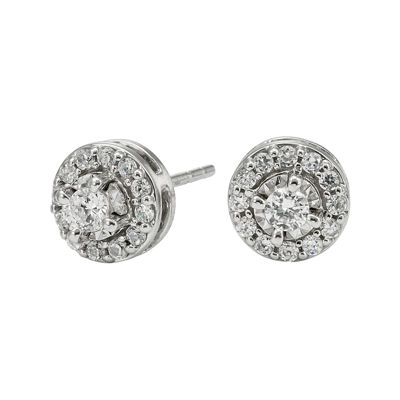 1 2 Ct T W Diamond 10k White Gold Round Framed Stud Earrings