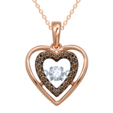 jcpenney.com | Love in Motion™ 1/5 CT. T.W. White & Champagne Diamond Rose Gold Heart Pendant