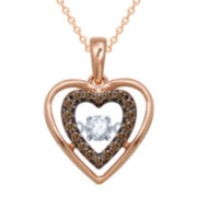 Love in Motion™ 1/5 CT. T.W. White & Champagne Diamond Rose Gold Heart Pendant