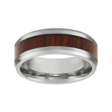 jcpenney.com | Mens Stainless Steel & Wood Inlay Band Ring