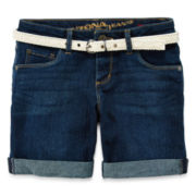 Arizona Crochet Belt Cuffed Denim Shorts - Girls 7-16, Slim and Plus